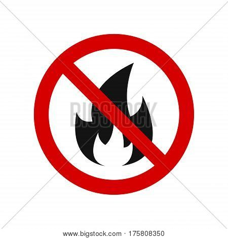 No Fire Vector Sign. SImple isolated illustration.