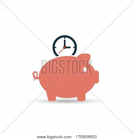Time is money piggy bank icon. Save time vector isolated color illustration.
