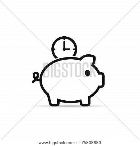 Time is money piggy bank line icon. Save time vector isolated outline illustration.