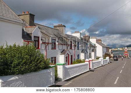 Historic row of houses on Valentia Island at the Ring of Kerry in Cahersiveen County Kerry Ireland