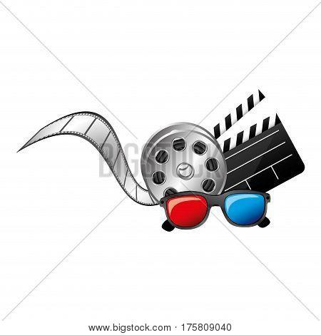 3d glasses, clapper board film and film production icon, vector illustraction design