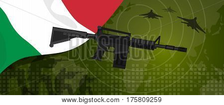 Italy military power army defense industry war and fight country national celebration with gun soldier jet fighter and radar vector