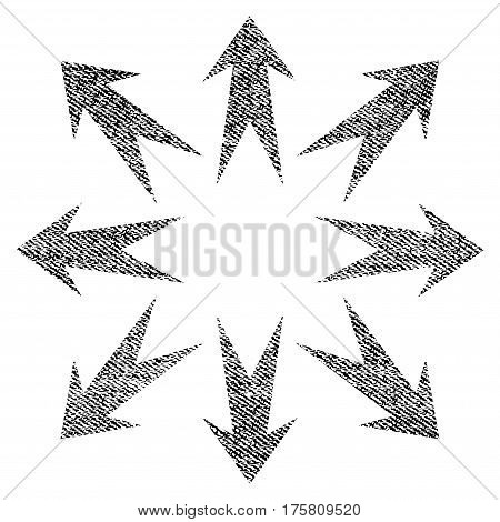 Expand Arrows vector textured icon for overlay watermark stamps. Black jeans fabric vectorized texture. Symbol with dust design. Black ink rubber seal stamp with fiber textile structure.
