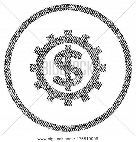 Financial Industry vector textured icon for overlay watermark stamps. Black jeans fabric vectorized texture. Symbol with unclean design. Black ink rubber seal stamp with fiber textile structure.