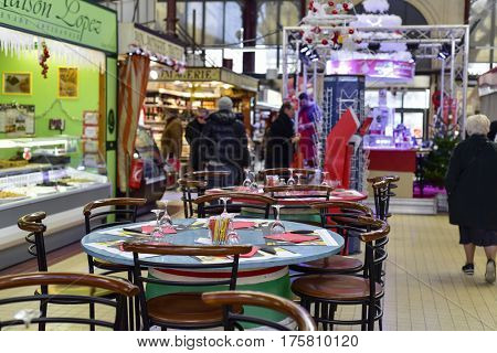 NARBONNE, FRANCE - DECEMBER 27, 2016: A view of the interior of Les Halles de Narbonne, in Narbonne, France, the main public market in the city which was inaugurated in 1901