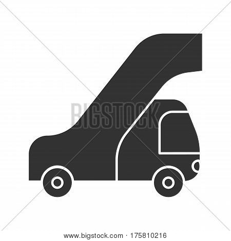 Passengers ladder icon. Silhouette symbol. Negative space. Gangway of plane vector isolated illustration