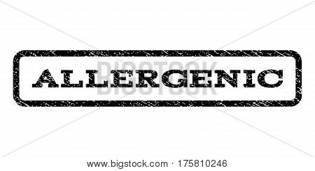 Allergenic watermark stamp. Text caption inside rounded rectangle frame with grunge design style. Rubber seal stamp with scratched texture. Vector black ink imprint on a white background.