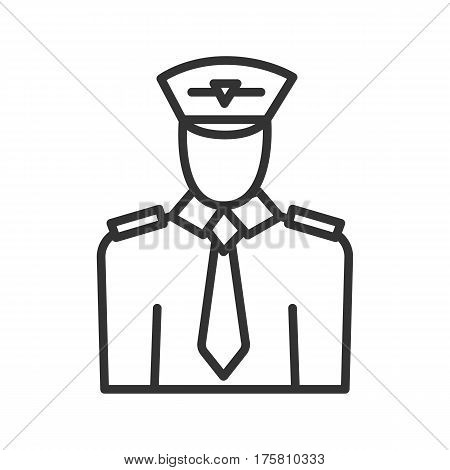 Pilot linear icon. Thin line illustration. Vector isolated outline drawing