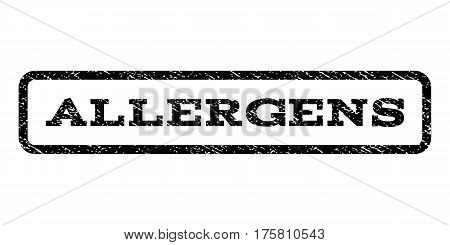 Allergens watermark stamp. Text caption inside rounded rectangle frame with grunge design style. Rubber seal stamp with dirty texture. Vector black ink imprint on a white background.