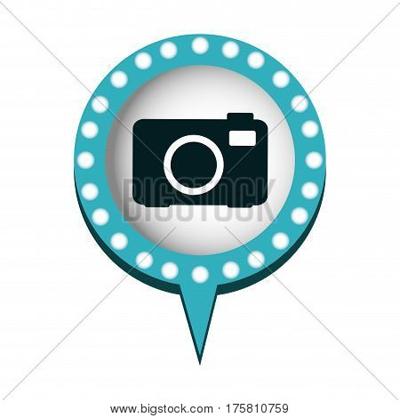 analog camera in circular speech with blue contour with dotted and tail vector illustration