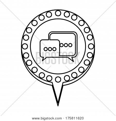monochrome silhouette of dialogue in circular speech with contour dotted and tail vector illustration