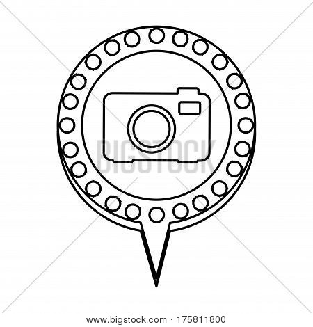monochrome silhouette of analog camera and circular speech with contour dotted and tail vector illustration