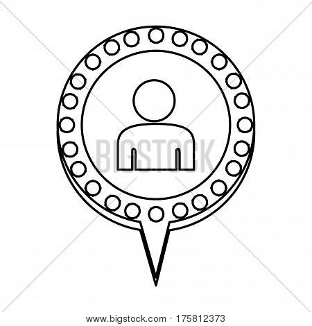 monochrome silhouette with half body man and circular speech with contour dotted and tail vector illustration