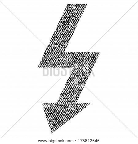 High Voltage vector textured icon for overlay watermark stamps. Black jeans fabric vectorized texture. Symbol with dirty design. Black ink rubber seal stamp with fiber textile structure.
