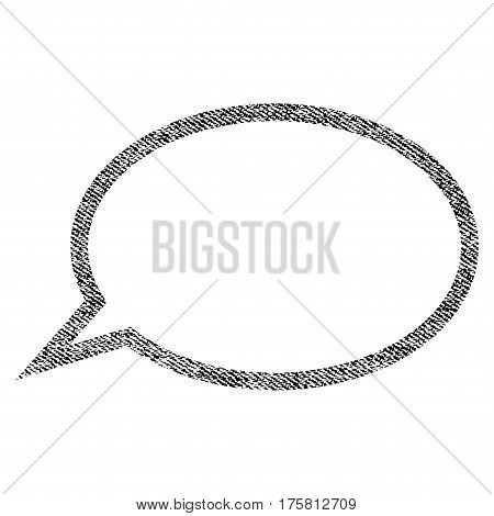 Hint Cloud vector textured icon for overlay watermark stamps. Black jeans fabric vectorized texture. Symbol with scratched design. Black ink rubber seal stamp with fiber textile structure.