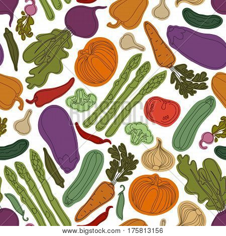 Seamless pattern with vegetables. Vegetarian menu. Eggplant, tomato, beets, peas, pepper, zucchini, radish, cucumber, broccoli, garlic, onions, carrots, okra, asparagus. Vector illustration.
