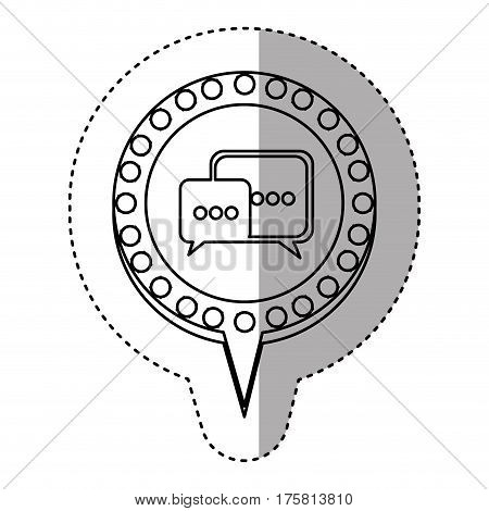 monochrome sticker with dialogue in circular speech with contour dotted and tail vector illustration