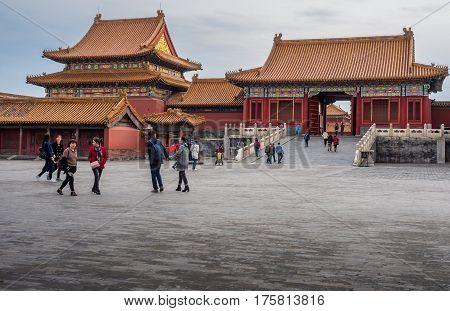 Beijing, China - Oct 30, 2016: A side gate near the Gate of Heavenly Purity, or Celestial Purity (Qianqingmen). Forbidden City (Gu Gong, Palace Museum).