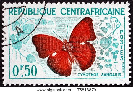 CENTRAL AFRICAN REPUBLIC - CIRCA 1961: a stamp printed in Central African Republic shows Cymothoe Sangaris Butterfly circa 1961