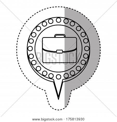 monochrome sticker with executive briefcase and circular speech with contour dotted and tail vector illustration