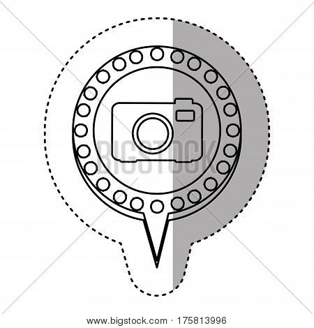 monochrome sticker with analog camera and circular speech with contour dotted and tail vector illustration