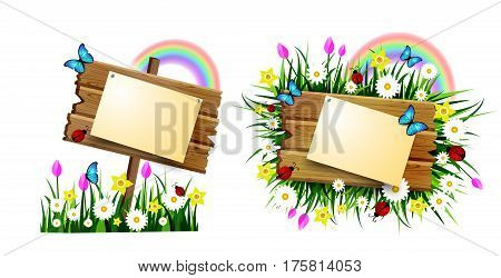Hello spring wooden board with pined paper on a lawn with flowers butterflyes rainbow and ladybugs bluebirds vector set