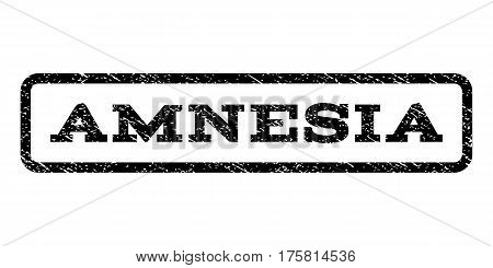 Amnesia watermark stamp. Text tag inside rounded rectangle with grunge design style. Rubber seal stamp with scratched texture. Vector black ink imprint on a white background.