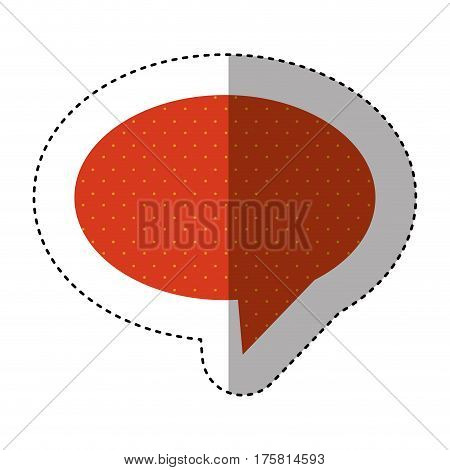 sticker of oval speech with tail and red background with yellow dots vector illustration
