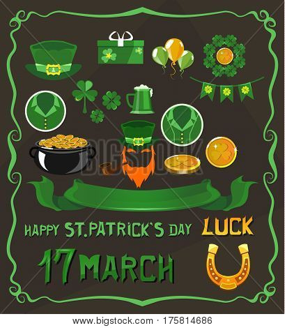 Set of isolated objects on St. Patrick's Day theme. Horseshoe, bowler, beard, gift, balloons, clover, four-leafed, ribbon, phrases, hat, coin, icon tube In green tones on a dark background