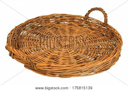 woven straw of bread or fruit isolated on white background