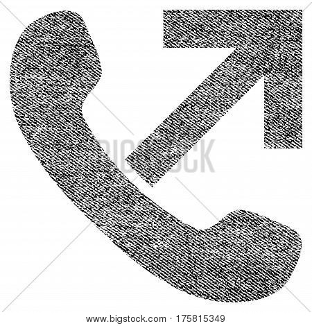 Outgoing Call vector textured icon for overlay watermark stamps. Black jeans fabric vectorized texture. Symbol with dust design. Black ink rubber seal stamp with fiber textile structure.