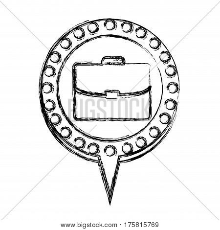 monochrome sketch with executive briefcase and circular speech with contour dotted and tail vector illustration