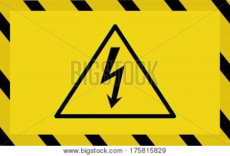 Caution sign icon. Danger hgh voltage vector illustration.