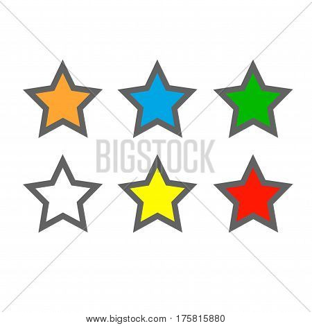 Star icons. Isolated vectors on white background.