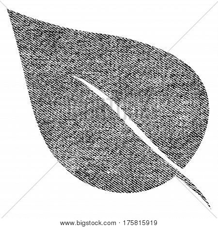 Plant Leaf vector textured icon for overlay watermark stamps. Black jeans fabric vectorized texture. Symbol with dust design. Black ink rubber seal stamp with fiber textile structure.