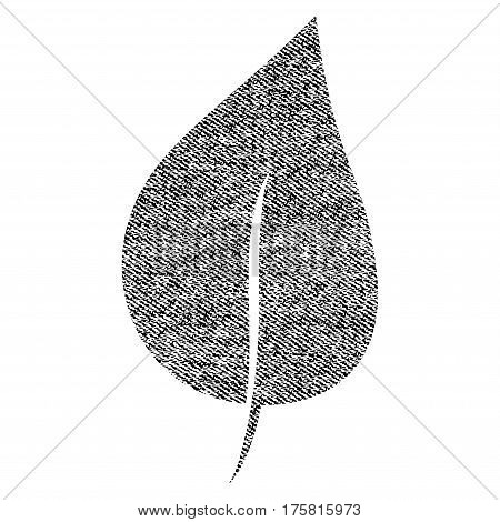 Plant Leaf vector textured icon for overlay watermark stamps. Black jeans fabric vectorized texture. Symbol with scratched design. Black ink rubber seal stamp with fiber textile structure.