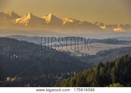 Tatra mountains in rural scene Poland Europe