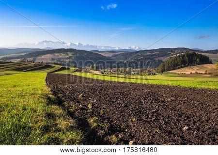 Tatra mountains in rural scene Poland Europe
