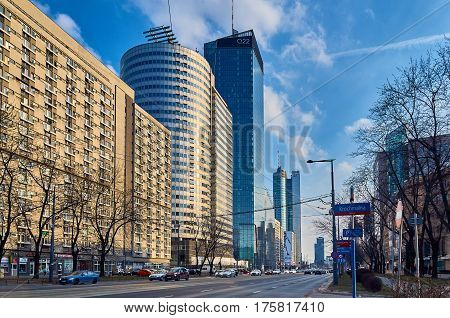 Warsaw, Poland - March 05, 2017: Q22 is a neomodern office skyscraper in Warsaw by the Polish real estate developer Echo Investment and designed by APA Kurylowicz Associates with collaboration from Buro Happold Polska. The building is 195 metres high and