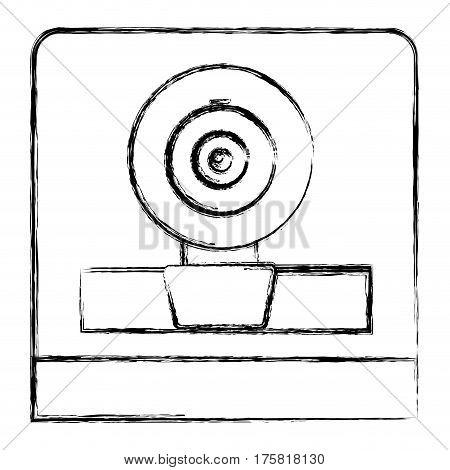monochrome sketch of webcam in square frame vector illustration