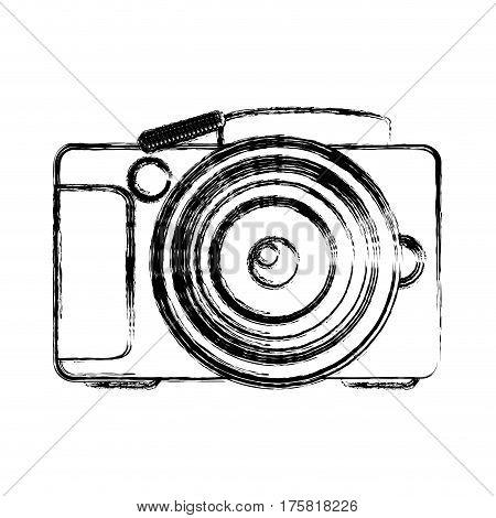 monochrome sketch of analog photo camera vector illustration