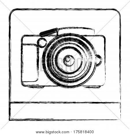 monochrome sketch of analog photo camera in square frame vector illustration