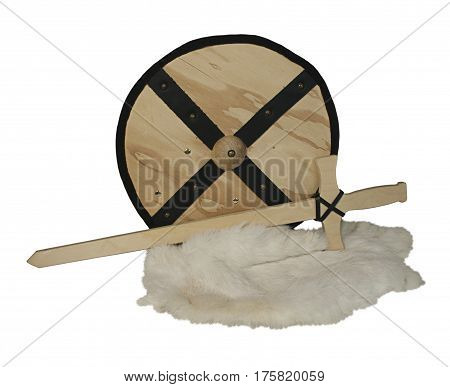 Wooden Shield and Sword and Rabbit Fur - path included