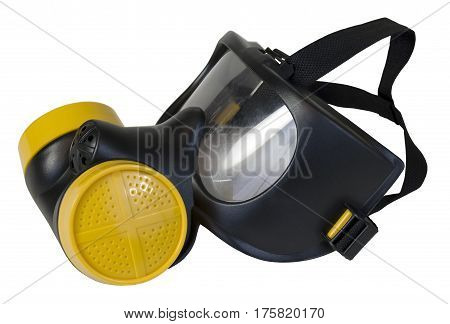 Gas Mask with Yellow Filters to protect the wearer from airborne pollutants and toxic gases