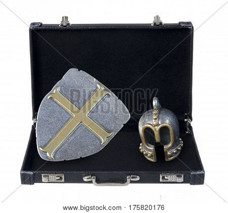 Medieval helm with shield in a briefcase - path included