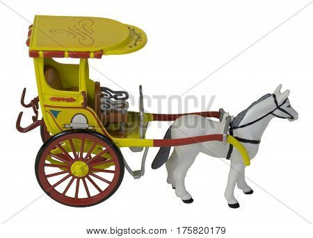 Horse Pulling a Yelllow Passenger Carriage - path included