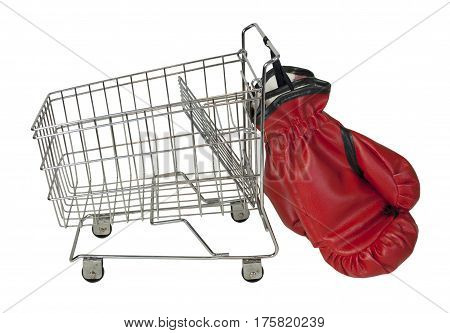 Shopping cart made of metal used for carrying groceries