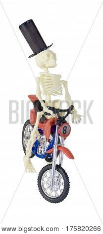 Skeleton in Top Hat Riding Motorcycle - path included