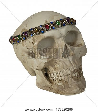 Skulll Wearing Antique gems arranged into jewelry - path included
