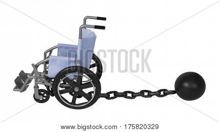 Wheelchair and Large metal ball and chain made to hamper movement - path included
